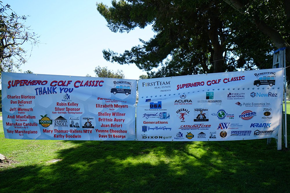 Super Hero Golf Classic Banners identifying donors and sponsors