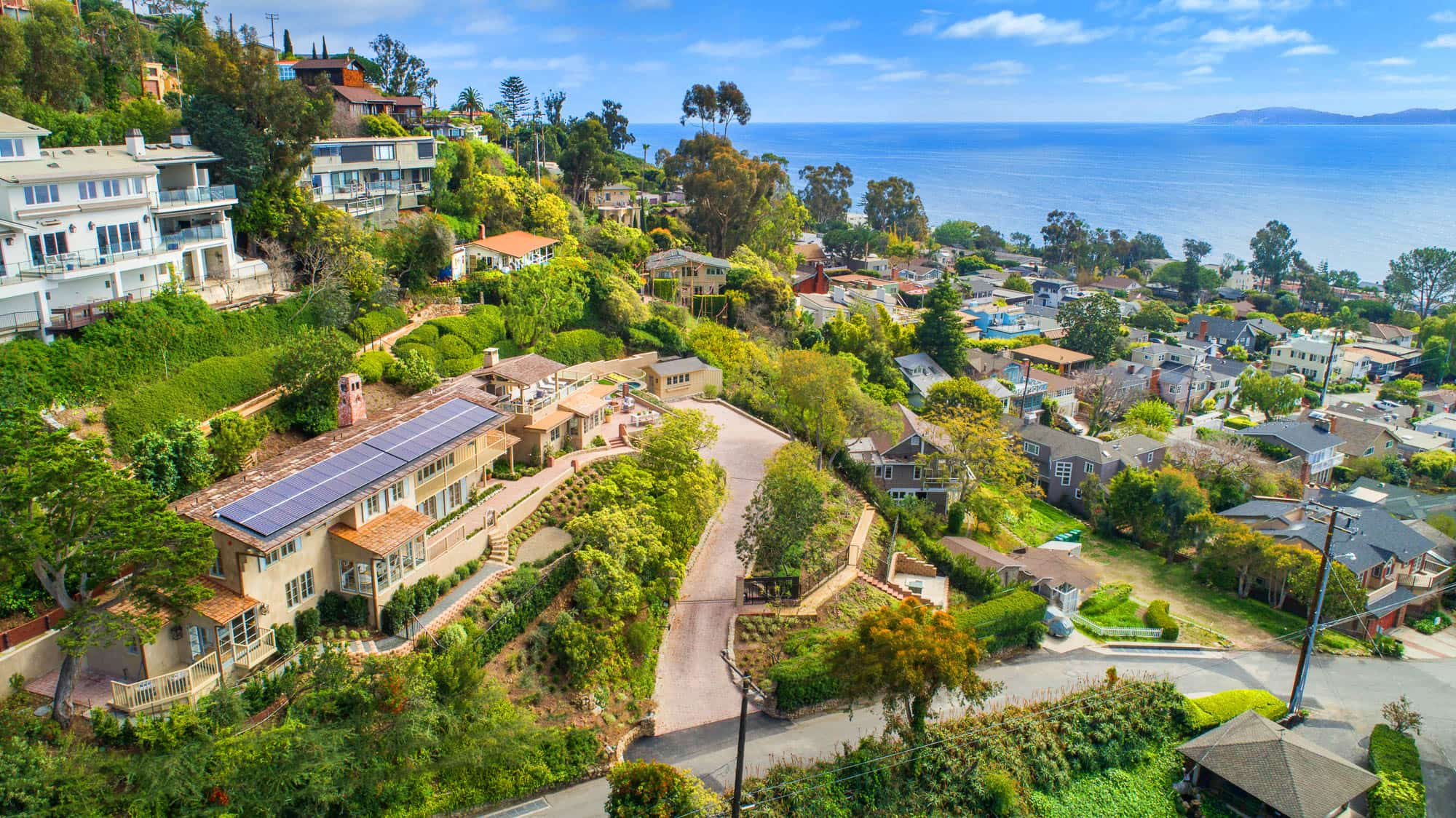 Exterior Aerial View Of 545 Diamond Street, Surrounded By Lush Landscaping Sitting On Ocean View Bluff.