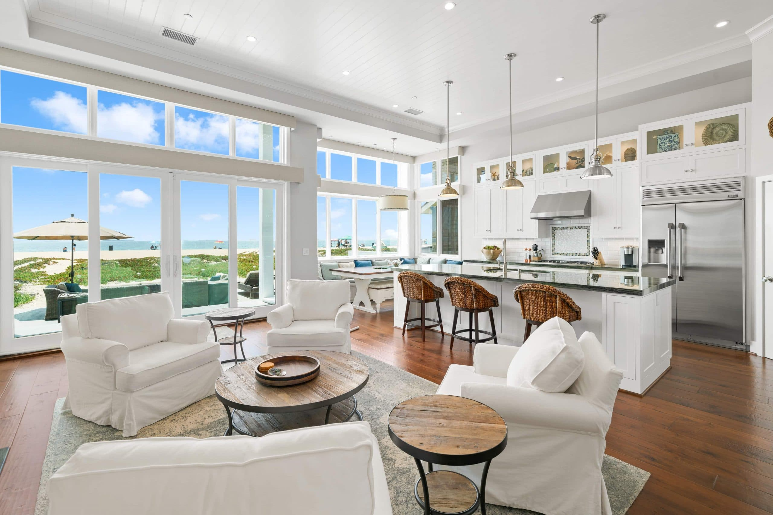 Light And Bright Beach House With Open Concept Kitchen And Living Room.