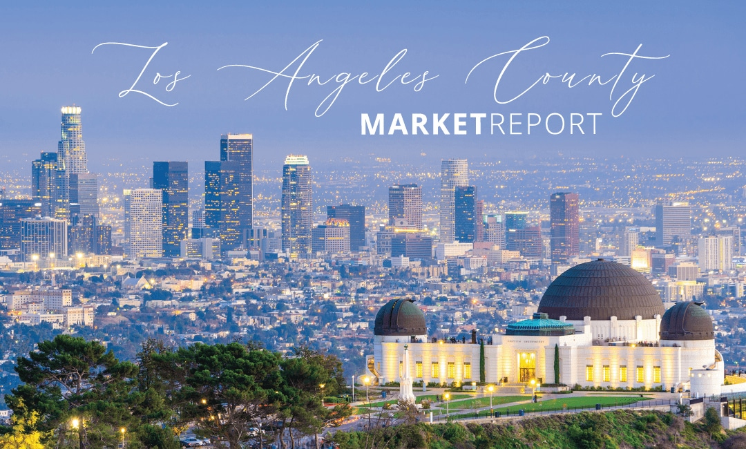 Aerial view of Los Angeles with Griffith Observatory and downtown skyline.