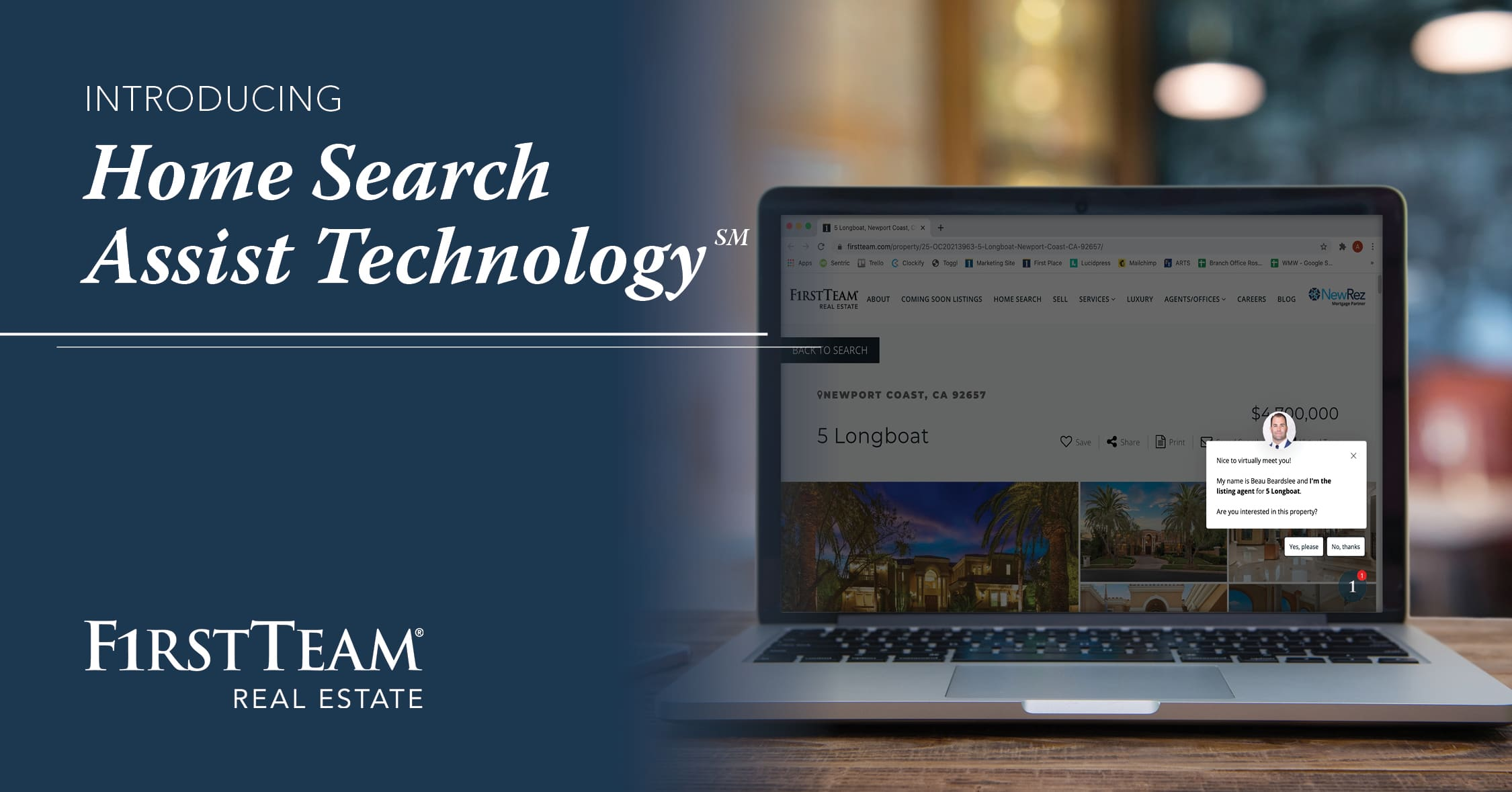 Introducing Home Search Assist Technology with laptop computer showing firstteam.com