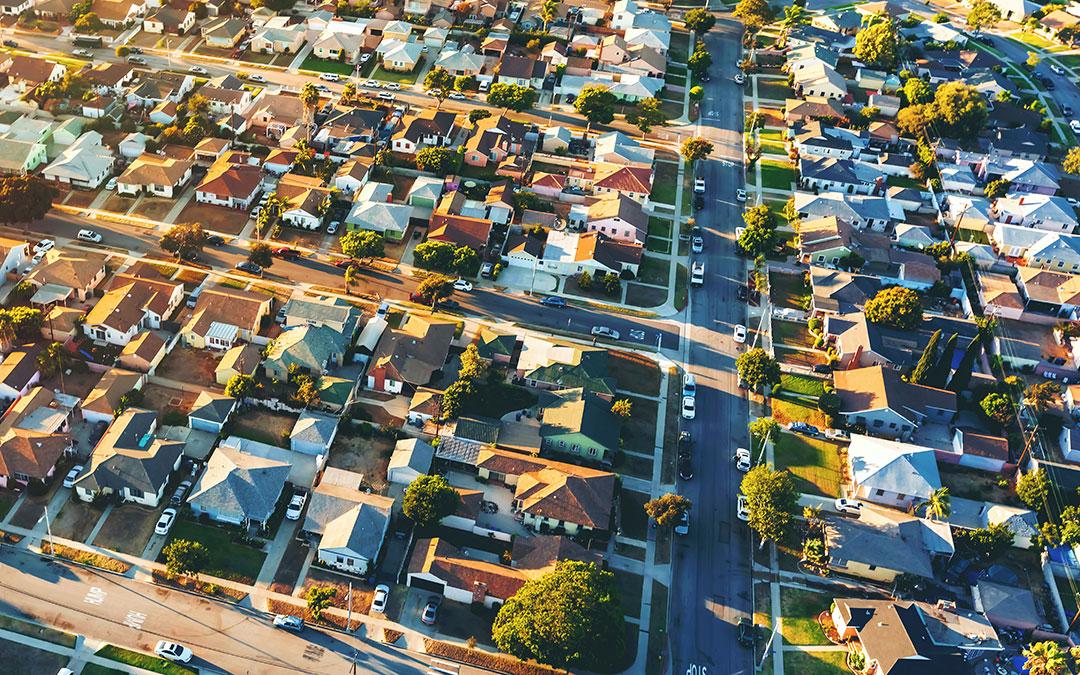 Aerial view of neighborhood in California