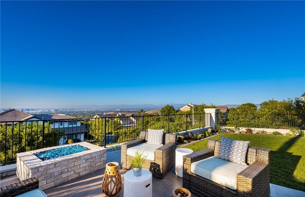 Backyard With Fire Table And Endless City Views In Irvine, Ca